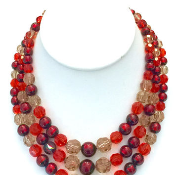 Christian Dior Three Strand Necklace, Haute Couture, Designer Signed, Red Orange Smoky Glass Beads, Metal Hang Tag 1960