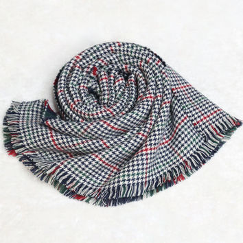 Black and Red Checkered Fringed Scarf