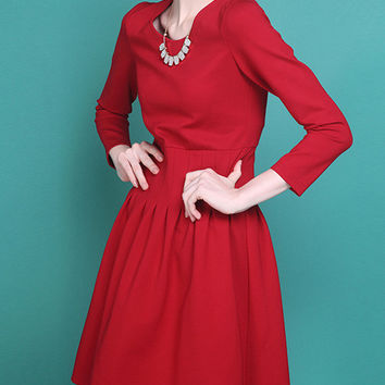 Red Long Sleeve Skater Midi Dress with Zipper