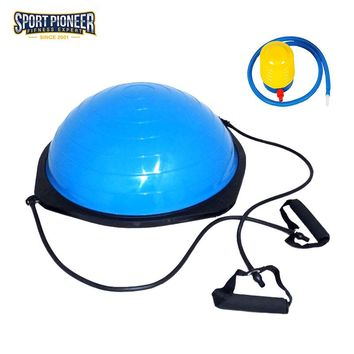 Ball Balance Trainer Half Yoga Ball Exerciser Slimming Balance Pilates Ball Gym Ball with Pump Fitness Equipment