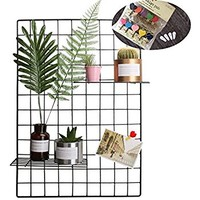 "Kleanner Metal Wire Mesh Grid Panel,Mesh Memo Board Wall Art Display & Hanging Organizer ,Pack of 2 Pcs,Square Size:23.6"" x 23.6"",Black"
