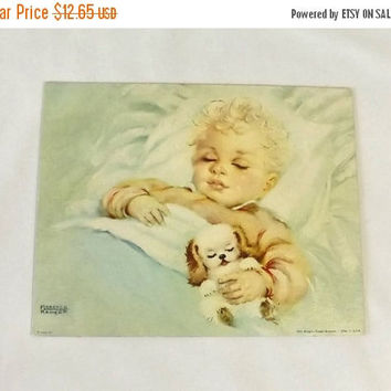 ON SALE - Florence Kroger Litho, Sweet Dreamer, Vintage Baby Art Lithograph Print, 8 x 10 Nursery Room Decor