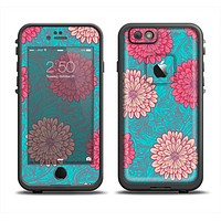 The Pink & Blue Floral Illustration Apple iPhone 6 LifeProof Fre Case Skin Set