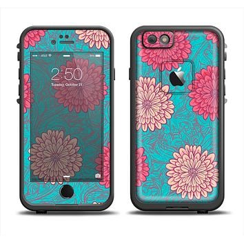 The Pink & Blue Floral Illustration Apple iPhone 6/6s LifeProof Fre Case Skin Set