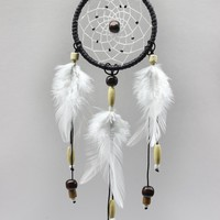 "Bistore - Handmade Dreamcatcher, 2.7"" Diameter, Good for Car, Wall Hanging Ornament, and Gift (2.7"" hoop - 12"" in length, Black)"