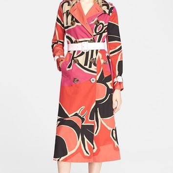 Women's Burberry Prorsum Book Cover Print Double Breasted Trench Coat