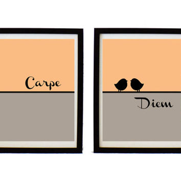 Carpe diem print set  - inspirational  print - quote print - birds  on wire - Modern art  - carpe diem poster - typographic print