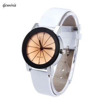 Genvivia Fashion Wristwatch 2017 Casual Business Women Quartz Watch diamond  Dial Clock Leather Stainless Round Case dropshiping