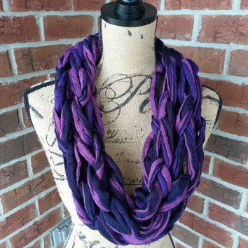 Purple and navy Arm knitted scarf, neutral scarf, knit scarf, infinity cowl, Bulky arm knit scarf multicolor infinity scarf, fashion scarf