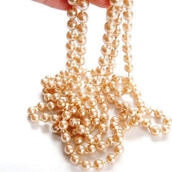 Vintage Long Pearl Necklace Champagne Pearls Flapper Pearl Necklace Faux Pearl 64 long