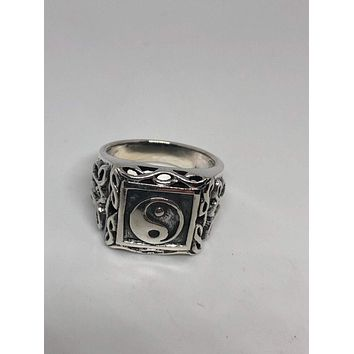 Vintage Gothic Yin Yang 925 Sterling Silver Mens Ring