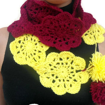 Crochet scarf necklace, sangria red scarf, flower scarf, handmade scarf, yarn scarf, crochet neckwarmer, womens gift, trendy scarf,