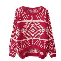 2013 Autumn New Casual Knit Woman Pullovers Sweater (Red)