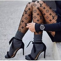LOUIS VUITTON Fendi Balenciaga LV Gucci Stylish Women Sexy Letter Print Sock Long Net Socks Black I12341-1