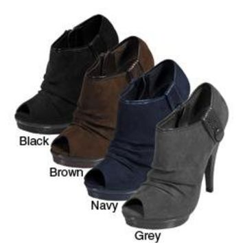Journee Collection Women's Peep Toe Platform Heel Booties | Overstock.com