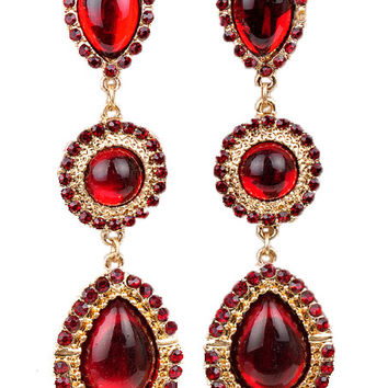 Ruby Red Gemstone Teardrop Earrings