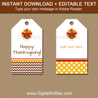 EDITABLE Thanksgiving Tags, Printable Thanksgiving Hang Tags, Happy Thanksgiving Tags, Thanksgiving Birthday Tags, Turkey Chevron Polka Dots