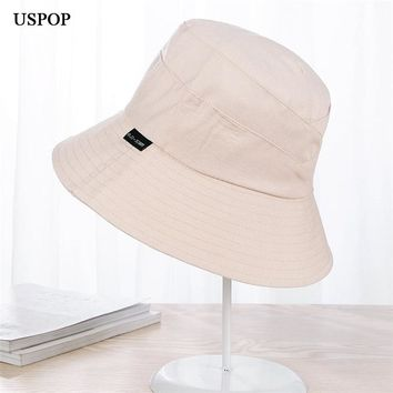 2018 New 100% cotton Woman Bucket Hats Wide brim Flat top Sun Hats casual solid color outdoor hats Female cloth Sun hats