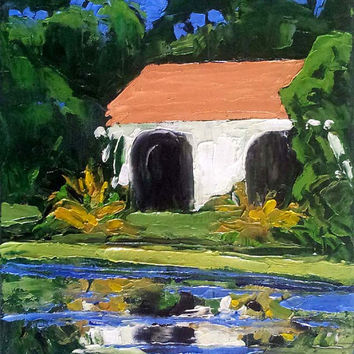 Impressionist California Mission POND REFLECTIONS Plein Air Landscape Painting Original Art Lynne French Free Shipping 11x14