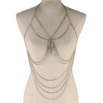 silver layered body chain bib collar choker bikini necklace bathing suit jewelry