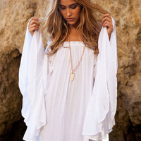 White Bell Sleeve Off Shoulder Mini Dress