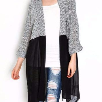 Women's Black/Gray Knitted Kimono and Chiffon Cardigan Jacket