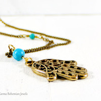 Hamsa Turquoise Long Necklace. Extra Long Boho Simple Necklace. Good Luck Pendant. Layered Boho Necklace. Antique Brass Long Chain Necklace