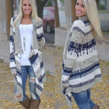 Loose Tribal Print Knitted Women Cardigan