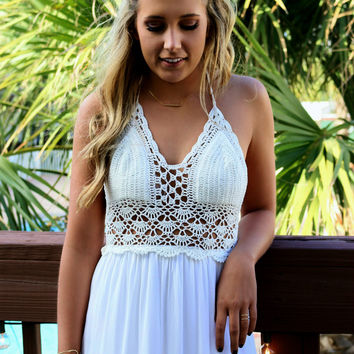 French Paradise Crochet Halter Top White Maxi Dress