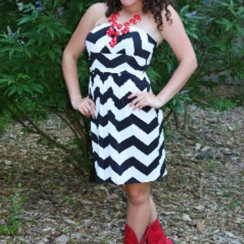 Strapless Chevron Sundress