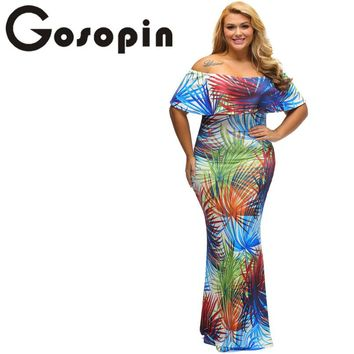 Gosopin Sexy Female Gowns Navy Blue Roses Print Off-the-shoulder Maxi Dress Vestido Festa Largo Robes LC61189 Robe Longue Femme