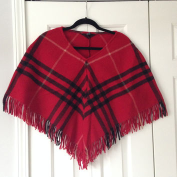 Burberry London Lambswool Plaid Poncho