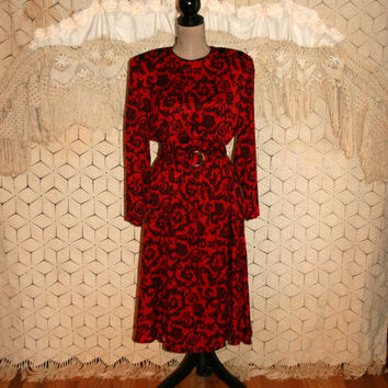 Long Sleeve Dress Wide Shoulder Pads 70s Dress 80s Secretary Dress Black Red Print Day Dress Leslie Fay Size 12 Size 14 Large Women Clothing