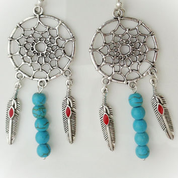 Native Dreamer Earrings - Silver Dreamcatcher w Turquoise Beads and Feather Dangles - American Southwest Design - Mother's Day Gift for Her