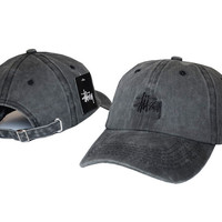 Unisex Gray Stussy Embroidered Baseball Cap Hat