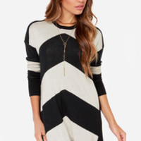 Volcom Twisted Black and Cream Striped Sweater Dress