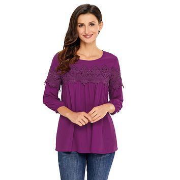Purple Crochet Detail Long Sleeve Babydoll Top