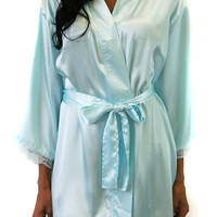 Satin Short Kimono Robe in Cool Blue