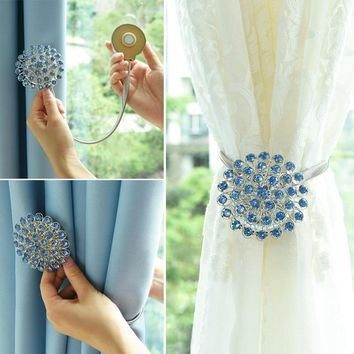 2pcs Flower design magnetic curtain buckle Window Screening Ball Clip Tieback decortive curtains holder Curtain Accessories