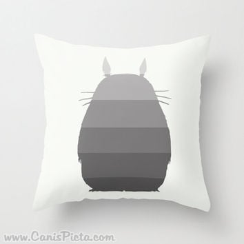 Ombre Totoro Silhouette My Neighbor Throw Pillow 16x16 Art Cover Anime Decorative Grey Creature Manga Troll Hayao Miyazaki Studio Ghibli