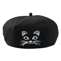 Black Kitty Embroidery Wool Beret Hat