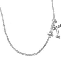 Sterling Silver Cubic Zirconia ' K ' Necklace
