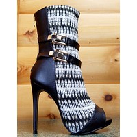 Avery White Fabric Gold Weave Open Toe Stiletto Mid Calf Boot 6.5-11 Avery