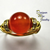 DWJ0227 Beautiful Genuine Red Agate Solitaire Gold Wire Wrap Ring All Sizes