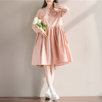 Woman Fashion Loose Checks Plaid Vintage Casual Knee Length Mori Girl Dresses Ladies Elegant Ruffled