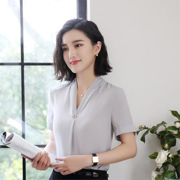 Grey Chiffon Blouses Formal Uniform Shirts For Ladies OL Styles Blouse Business Women Work Wear Tops Clothes  Plus Size