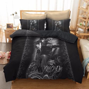 Gotico Comforter Bedding Sets Duvet Cover King Queen Size Punk Rock Gothic Lit Bed Linen Europe Style 3D housse de couette C