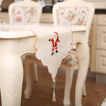 Embroidery Red & White Table Flag Cloth Covers