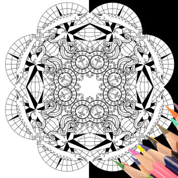 DIY Mandala Coloring Pages Nautical Octopus Advanced, Adult Printable Colouring book, Instant Digital Download, Set of 2 Black and White
