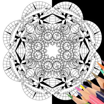 diy mandala coloring pages nautical octopus advanced adult printable colouring book